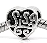 Antique Silver &quot; Sis or Sister &quot; Charm Spacer Beads fits Pandora Troll Chamilia Biagi Bracelet