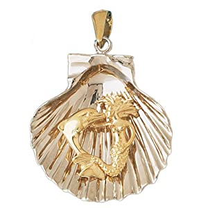 CleverEve's 14K Gold Pendant Two Tone Shell with Mermaid and Dolphin 24.3 - Gram(s)