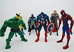 NEW 6pcs/set 14cm Avengers Captain America Wolverine Hulk Thor Spiderman Batman PVC Action Figure Model Christmas Gift Toy