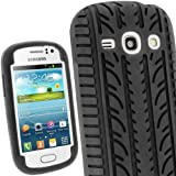iGadgitz Black Silicone Skin Case Cover with Tyre Tread Design for Samsung Galaxy Fame S6810 Android Smartphone Cell Phone + Screen Protector