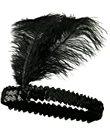 Roaring 20's Black Sequined Showgirl Flapper Headband w/ Feather Plume
