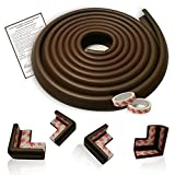 Mom's Besty™ 15 Ft Edge & 4 Corner Guards, Child Safety Furniture Bumpers Set + Home Baby Proofing Checklist, Coffee Brown