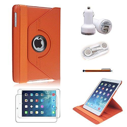 Icrown(Tm) Ipad Mini Case, Leather 360 Degrees Model, Function: Automatically Wakes And Puts The Ipad Mini To Sleep (Orange 5In1, Ipad Mini)