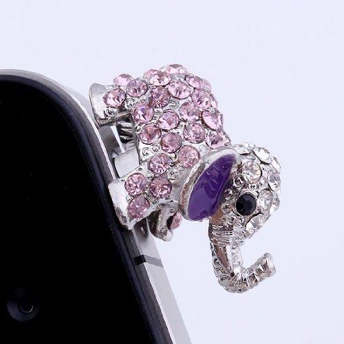 Top Plaza 1/5/10 Pcs 3.5Mm Pink Crystal Pave Metal Elephant Anti-Dust Earphone Cap Jack Plug Dustproof, Cell Phone Gift (1Pc)