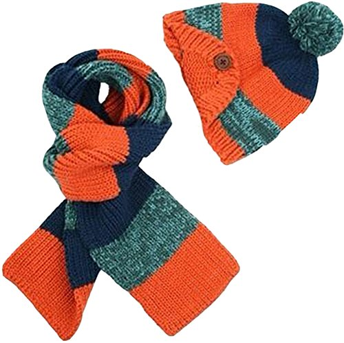 Freedi Winter Kids Children Baby Infant Girls Boys Knitted Woolen Warm Crochet Rib Hat+Scarf Two Piece Set (Stripe Orange)