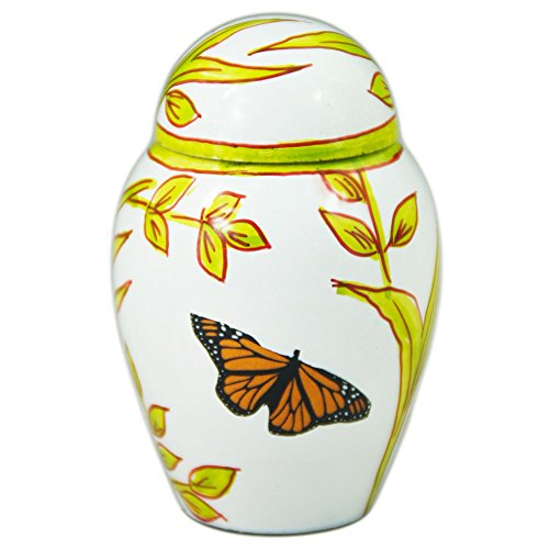 Funeral Keepsake Urn by Meilinxu- Cremation Urn for Human Ashes - Mini Urn or Pet Urns for Dogs Ashes - Small Urn Brass Hand Engraved - Display Burial Urn at Home or Office (Butterflies White Baby Urn (Mini Urn For Human Ashes compare prices)