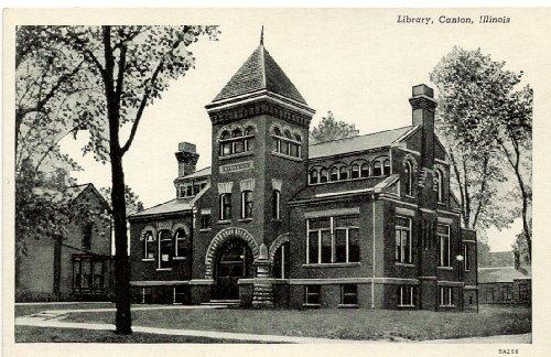1940s Vintage Postcard - Library - Canton Illinois