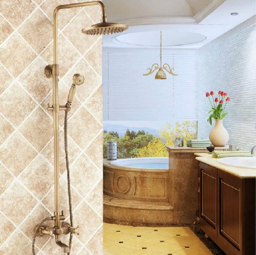 Rozinsanitary Antique Brass 8 Inch Rain Shower Faucet Units Tub Mixer Tap With Hand Shower front-620553