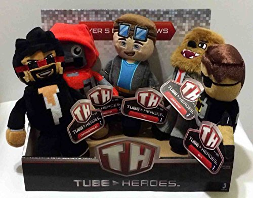 """Tube Heroes 7"""" Plush Figures Toys Complete Set of 5 Including: TDM, SkY, JEROMEASF, CAPTAINSPARKLEZ and EXPLODINGTNT with Display Box"""