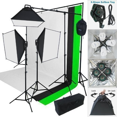 Lincostore-2000-W-Photo-Studio-Lighting-Kit-3-Color-Muslin-Backdrop-Background-Stand-Photography-Flora-X-Fluorescent-4-Socket-Auto-Pop-Up-Softbox