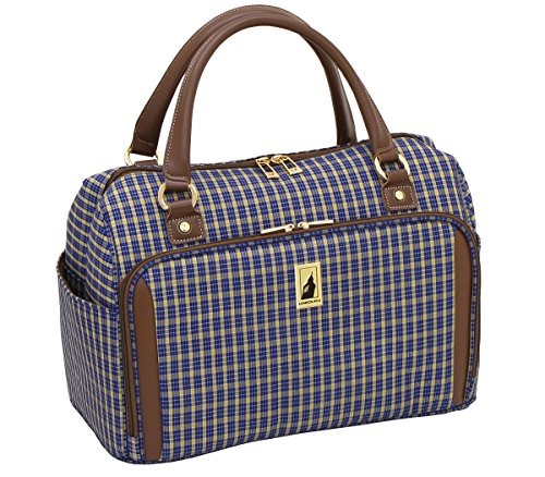 london-fog-kensington-17-inch-deluxe-cabin-bag-blue-tan-plaid-one-size