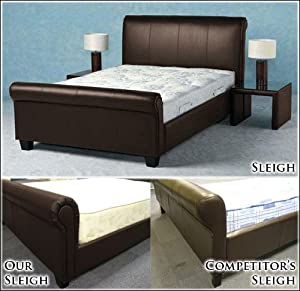 NEW 4ft 6 BROWN FAUX LEATHER SLEIGH DOUBLE SCROLL BED AND SLUMBER SLEEP VENUS SPRUNG MATTRESS