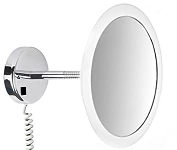 VELMA - SATIN - LED100 5x - Exclusive premium LED lighted cosmetic mirror / magnifying mirror / men's shaving mirror / make-up mirror - 5x magnification - ultra flat mirror frame with satinised acrylic light edge - high gloss chromed brass - premium quali