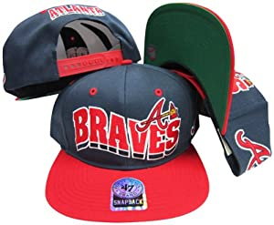 Atlanta Braves Navy Red Two Tone Plastic Snapback Adjustable Plastic Snap Back Hat... by Twins