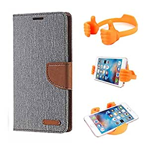 Aart Fancy Wallet Dairy Jeans Flip Case Cover for MotorolaMotoE (Grey) + Flexible Portable Mount Cradle Thumb OK Designed Stand Holder By Aart Store.