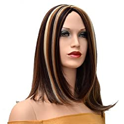 Sexy Long Brown Straight Wigs Lace Wigs Neat Bangs Party Wigs For Modern Ladies And Women
