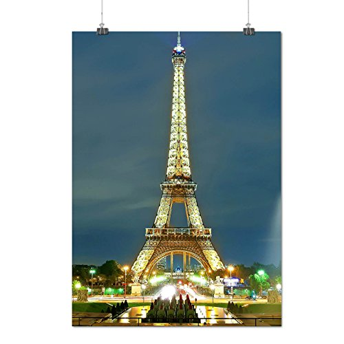 paris-eiffel-tower-france-night-matte-glossy-poster-a2-60cm-x-42cm-wellcoda