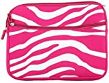 Universal Soft Sleeve Pouch for 8 - 10inch Netbook Laptop - Exotic Safari Hot Pink White Zebra Print with Double Zipper