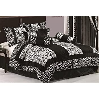 Legacy Decor 8 Piece Black and White Micro Fur Zebra with Giraffe Design Comforter Bed in Bag, King Size