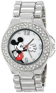 Disney Women's MK2070 Mickey Mouse Mother-of-Pearl Dial Silver-Tone Bracelet Watch