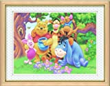 Moanlisa  クロスステッチキット 刺繍キット   プーさんの家族写真