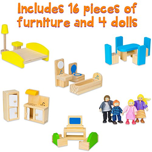 Wooden Wonders Tall Townhome Dollhouse With 16 Pieces Of