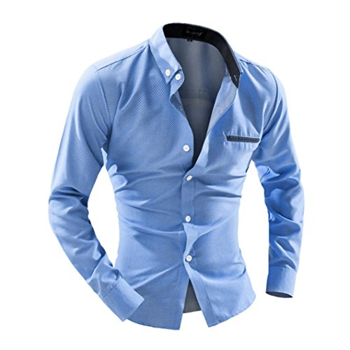 Tops Maglietta Clode® Casual Camicia a Maniche Lunghe Stampa di Puntini Maschile (Dimensione : L, Color : Azzurro)