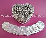 Silver Rhinestones Heart Wedding Arras Box & Unity Coins Arras de boda