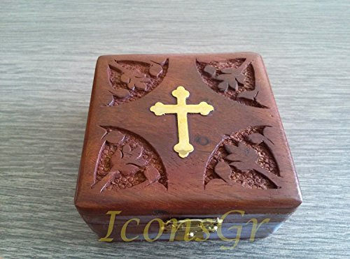 Handmade Christian Orthodox Wooden Olive Wood Storage Box with Decorative Cross / 9444-1