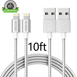 ONSON Lightning Cable,2Pack 10FT Extra Long Nylon Braided Charging Cord Data Sync Cable for iPhone 6/6S/6 Plus/6S Plus,5/5S/5C/SE,iPad Air/iPad Mini/iPad Air Pro,iPod touch and more (Silver+Gray)