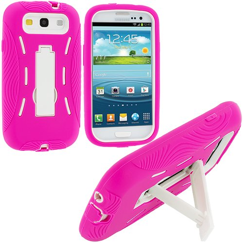 Accessory Planet(Tm) Hot Pink / White Heavy Duty Hybrid Hard/Soft Silicone Case Cover With Stand Accessory For Samsung Galaxy S Iii S3