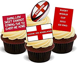 RUGBY WORLD CUP 2015 ENGLAND MIX - Fun Novelty PREMIUM STAND UP Edible Wafer Paper Cake Toppers Decoration by Baking Bling