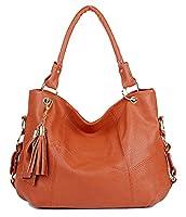 C&L Women Genuine Leather Calfskin Handbag Lady Top Handle Bag Tote