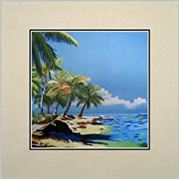 King Silk Art 100% Handmade Embroidery Beach Palm Trees in a Basket Chinese Print Unframed Landscape Painting Gift Oriental Asian Wall Art Décor Artwork Hanging Picture Gallery 37119WG