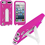 Pink / White Hybrid Rugged Hard Silicone Case Cover w/ Stand for Apple iPod Touch 5th Generation 5G 5