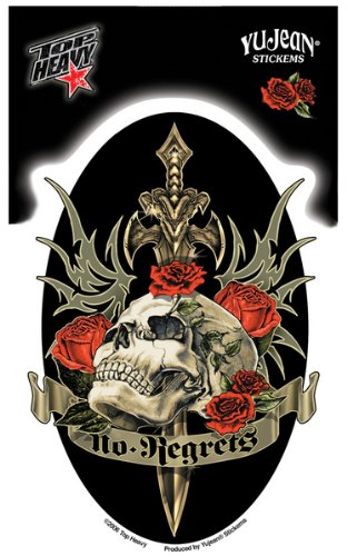 "Top Heavy - Effigy Ornate Dagger Skull decalcomania Sticker - 3.5"" x 5.5"" - Weather Resistant, Long Lasting for Any Surface"
