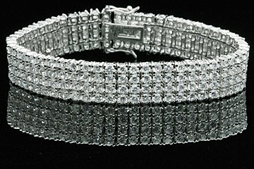 4 Row Cubic Zirconia Platinum Style Men's Hip