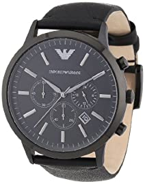 Armani Sportivo Chronograph Black Dial Black Leather Strap Mens Watch AR2461