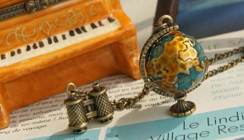 Globe Telescope Travel Necklace Sweater Chain Necklace !!(10Pcs/Lot)