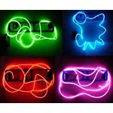 Neon Glowing Strobing Electroluminescent Wires (El Wire) - Green, Blue, Red & Pink Party Pack, #3333