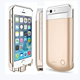 IFans® [Apple Certified ] 2400mAh MFi Certified Extended Protective iPhone 5/5s Battery Power Pack external Case Rechargeable Extended Backup Charger flip cover case, champaign gold