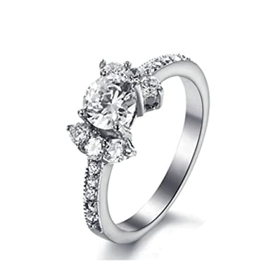 MoAndy Jewelry Titanium Steel Women's Fashion Figure Ring Bands Hearts And Arrows Cubic Zirconia White