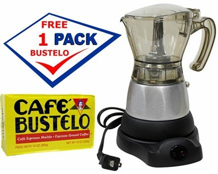 Electric Espresso Coffee Makes 3- 6 Cups. 10 oz Bustelo Espresso Coffee Pack Included