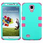 Samsung Galaxy S4 IV i9500 Case - Wydan (TM) TUFF Impact Hybrid Hard Gel Shockproof Case Heavy Duty Cover For Samsung Galaxy S4 IV i9500 - Teal on Pink w/ Wydan Stylus Pen