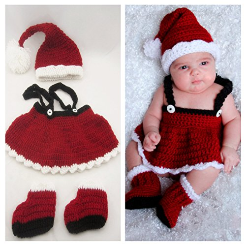 Kalevel® Soft Handmade Crochet Knit Baby Photo Props,Baby Photograph Props,Baby Photograph,Infant Newborn Cute Baby Christmas Outfits,Newborn Xmas Outfit,Christmas Costumes for Baby,Santa Claus Costume for Baby Girl (0-9 Months,Hat + Cloth + Shoe)