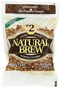 Natural Brew #2 Cone Coffee Filters, Natural Brown Paper, 100-Count Bags (Pack of 8) at Sears.com