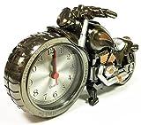 R&K's Company 重厚感! ハーレー風 バイク 型 目覚まし 時計 メタリック ボディ クリーニングクロス付き2点セット レトロ 置時計 インテリア プレゼント にも S168