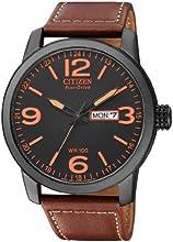 Comprar Citizen BM8476-07EE - Reloj analógico de cuarzo para hombre, correa de cuero color marrón (solar)