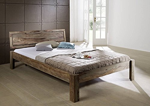 Sheesham Holz massiv Bett 140x200 Massivmöbel Nature Grey #190