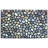 J & M Home Fashions Pebbles Printed Flocked Doormat 18 by 30-Inch
